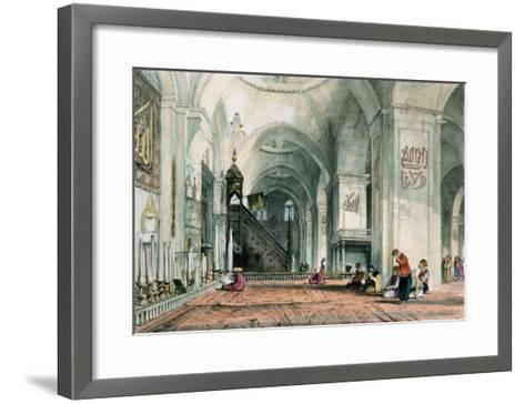 Great Mosque at Brussa, Plate 24, Illustrations of Constantinople, Engraved by Artist, Pub. 1838-John Frederick Lewis-Framed Art Print