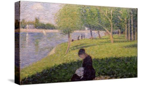 Seamstress, Grande Jatte, A Sunday Afternoon on the Island of La Grande Jatte, c.1884-6-Georges Seurat-Stretched Canvas Print