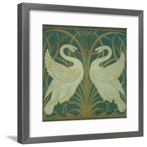Wallpaper Design For Panel of Swan, Rush and Iris-Walter Crane-Framed Art Print