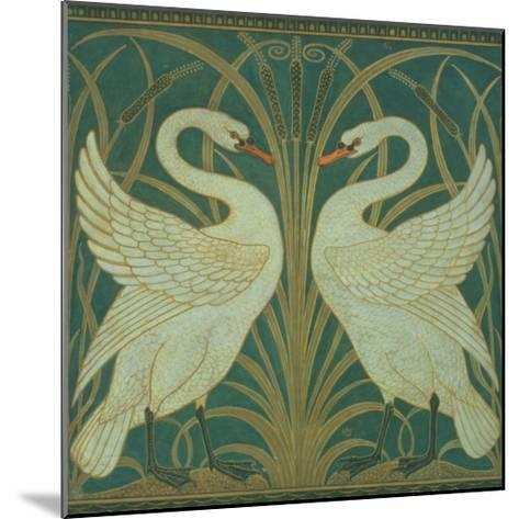 Wallpaper Design For Panel of Swan, Rush and Iris-Walter Crane-Mounted Giclee Print