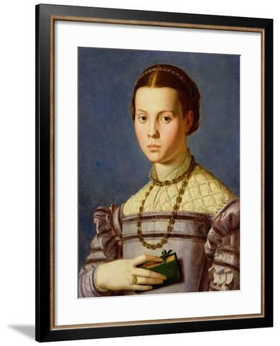 Portrait of a Young Girl Holding a Book c.1545-Agnolo Bronzino-Framed Art Print