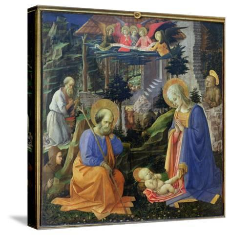 Adoration of the Child with Ss. Hilary, Jerome, Mary Magdalene and Angels-Fra Filippo Lippi-Stretched Canvas Print