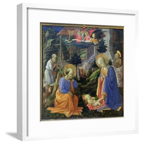 Adoration of the Child with Ss. Hilary, Jerome, Mary Magdalene and Angels-Fra Filippo Lippi-Framed Art Print