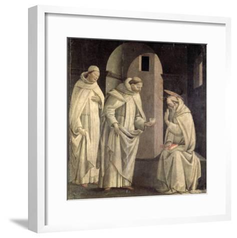 Life of St. Benedict: St. Benedict Blessing the Cup of Poison Which Shatters, c.1488- Bartolomeo Di Giovanni-Framed Art Print