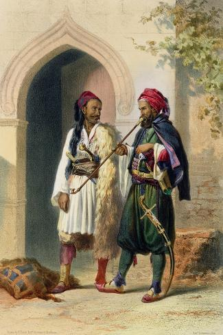Arnaout and Osmanli Soldiers, Alexandria, the Valley of the Nile, c.1848-Achille-Constant-Th?odore-?mile Prisse d'Avennes-Stretched Canvas Print