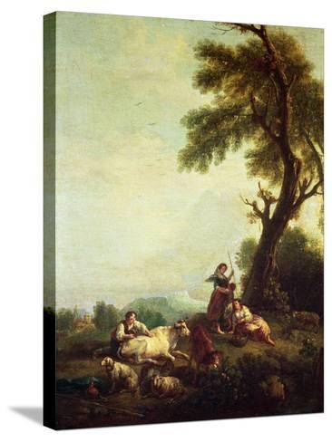 Landscape with Peasants Watching a Herd of Cattle-Francesco Zuccarelli-Stretched Canvas Print