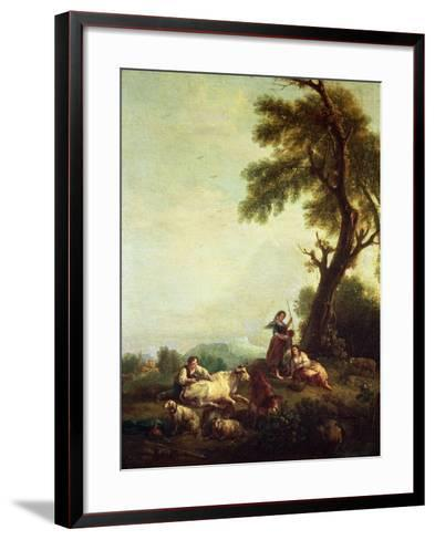 Landscape with Peasants Watching a Herd of Cattle-Francesco Zuccarelli-Framed Art Print