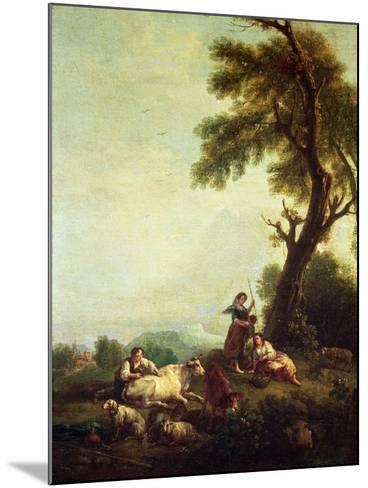 Landscape with Peasants Watching a Herd of Cattle-Francesco Zuccarelli-Mounted Giclee Print