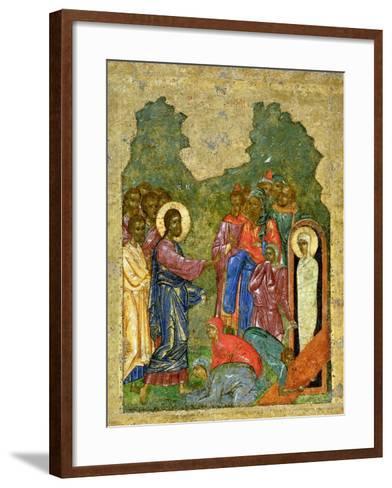 Raising of Lazarus, Russian Icon, Cathedral of St. Sophia, Novgorod School, 14th Century--Framed Art Print