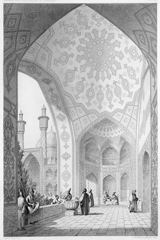 Main Entrance of the Medrese-I-Shah-Hussein, Isfahan, Modern Monuments of Persia-Pascal Xavier Coste-Stretched Canvas Print