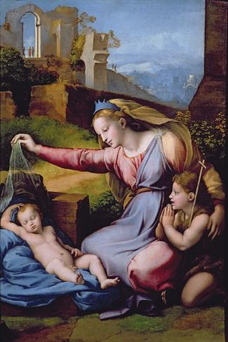 The Madonna of the Blue Diadem or the Madonna of the Veil-Raphael-Stretched Canvas Print