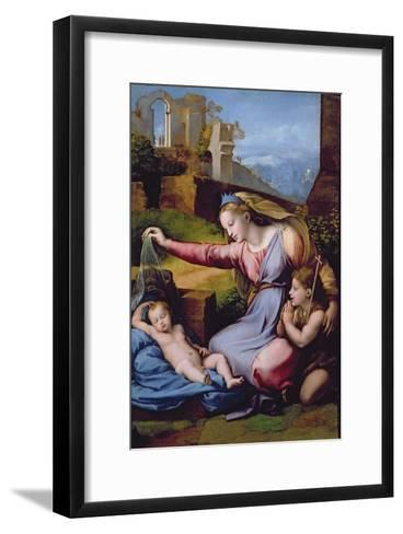 The Madonna of the Blue Diadem or the Madonna of the Veil-Raphael-Framed Art Print