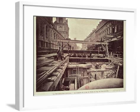 Construction of the Metro System Along the Rue de Rivoli, 1898--Framed Art Print