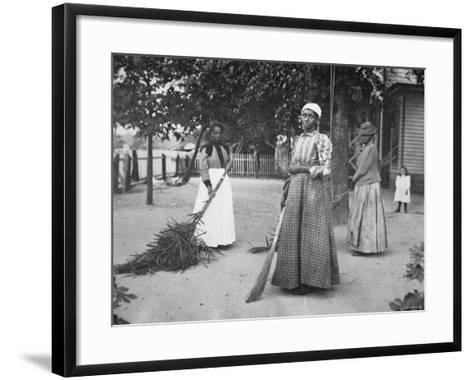 Female Servants Using Brooms of Bambusa on Latimer's Plantation, Belton, South Carolina, 1899--Framed Art Print