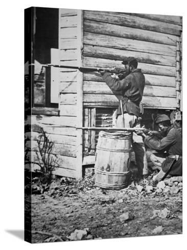 Black Troops of the Union Army on Picket Duty in Virginia During the American Civil War--Stretched Canvas Print