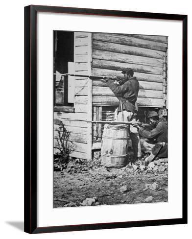 Black Troops of the Union Army on Picket Duty in Virginia During the American Civil War--Framed Art Print