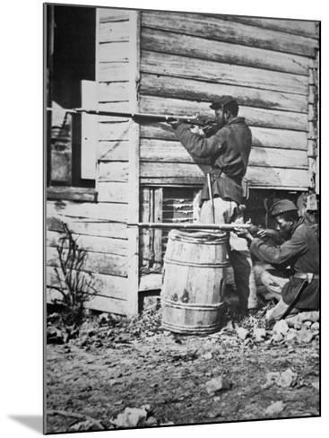 Black Troops of the Union Army on Picket Duty in Virginia During the American Civil War--Mounted Photographic Print