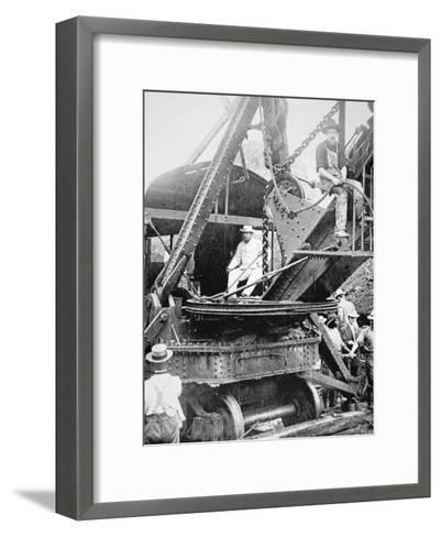 President Theodore Roosevelt, T the Culebra Cut During the Digging of the Panama Canal, 1906--Framed Art Print