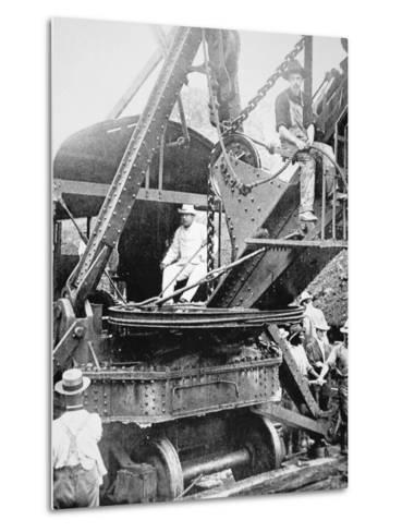 President Theodore Roosevelt, T the Culebra Cut During the Digging of the Panama Canal, 1906--Metal Print