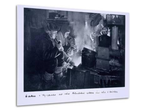Oates and Meares at the Blubber Stove in the Stables, from Scott's Last Expedition-Herbert Ponting-Metal Print