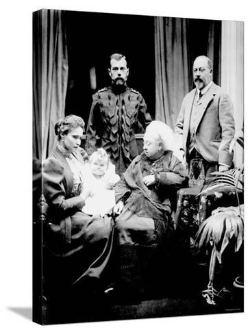 Queen Victoria, Tsar Nicholas II, His Wife and Daughter and Albert, Prince of Wales, Balmoral, 1896--Stretched Canvas Print