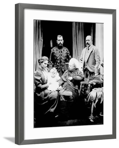 Queen Victoria, Tsar Nicholas II, His Wife and Daughter and Albert, Prince of Wales, Balmoral, 1896--Framed Art Print