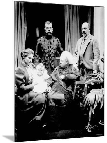 Queen Victoria, Tsar Nicholas II, His Wife and Daughter and Albert, Prince of Wales, Balmoral, 1896--Mounted Photographic Print
