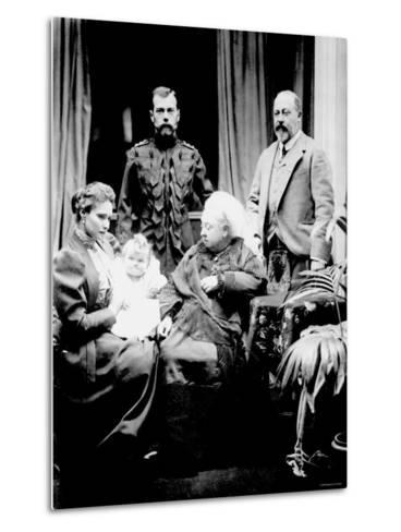 Queen Victoria, Tsar Nicholas II, His Wife and Daughter and Albert, Prince of Wales, Balmoral, 1896--Metal Print