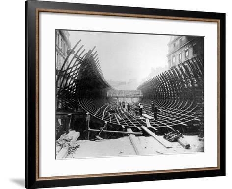 Paris Metro at Place Saint-Michel: Caisson Prior to Its Being Placed in the River Seine, c.1906--Framed Art Print