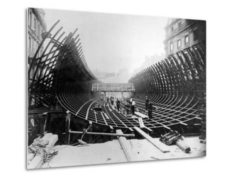 Paris Metro at Place Saint-Michel: Caisson Prior to Its Being Placed in the River Seine, c.1906--Metal Print