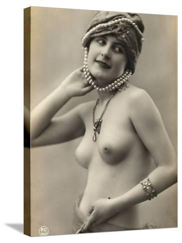 Portrait of a Barebreasted Young Woman, Wearing a Pearl-Decorated Hat--Stretched Canvas Print