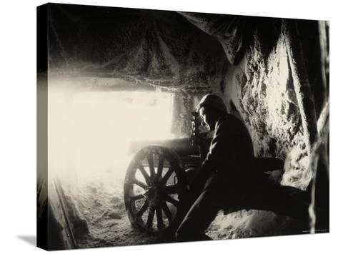 Italian Soldier in a Snow Cave on Monte Nero During World War I--Stretched Canvas Print