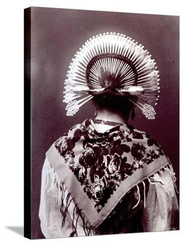 Half-Length Portrait from Behind of a Woman in a Typical Regional Costume of the Alta Brianza--Stretched Canvas Print