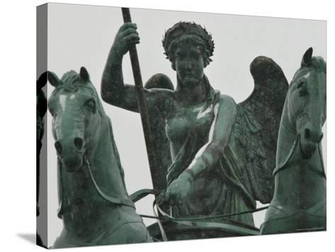 First Snow Sits on the Quadriga on Top of Berlin's Brandenburg Gate--Stretched Canvas Print