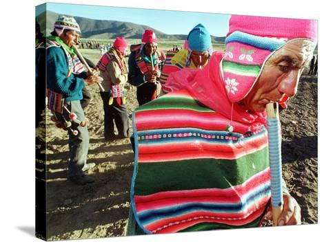 Aymara Indian Farmers Celebrate the Feast of the Cross--Stretched Canvas Print