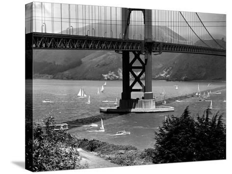Golden Gate Bridge on Opening Day of the Yacht Season--Stretched Canvas Print