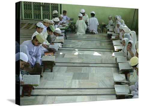 Indian Muslim Children Read the Holy Quran--Stretched Canvas Print