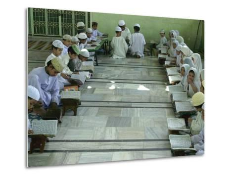 Indian Muslim Children Read the Holy Quran--Metal Print