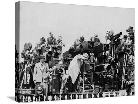 Press and Newsreel Long-Focus Cameras are Trained on the Royal Box at Ascot--Stretched Canvas Print