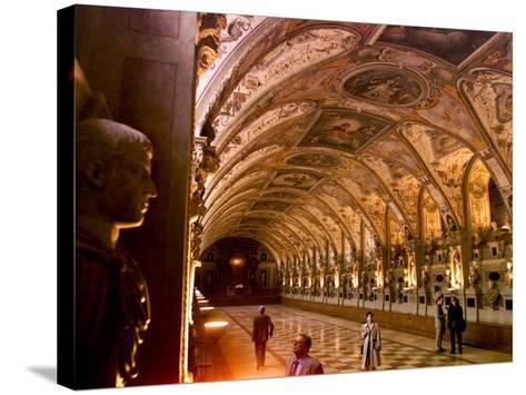 Visitors Examine the Sculptures and Frescoes of the Antiquarium Hall in Munich, Germany--Stretched Canvas Print