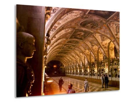 Visitors Examine the Sculptures and Frescoes of the Antiquarium Hall in Munich, Germany--Metal Print