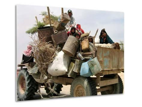 An Iraqi Family and Their Sheep Ride on Their Tractor to Fetch Water Outside the Town of Najaf--Metal Print