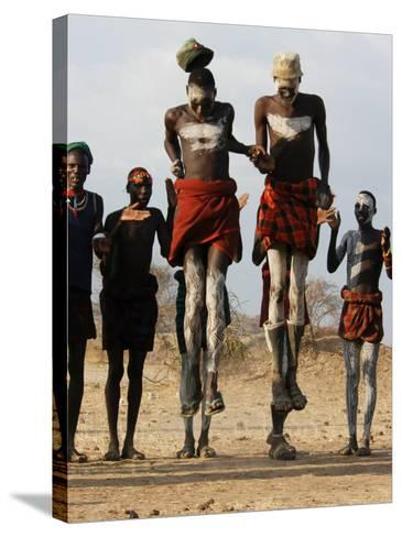 Men Wearing Traditional Body Paint in Nyangatom Village Dance, Omo River Valley, Ethiopia-Alison Jones-Stretched Canvas Print