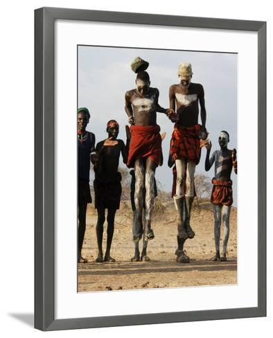 Men Wearing Traditional Body Paint in Nyangatom Village Dance, Omo River Valley, Ethiopia-Alison Jones-Framed Art Print