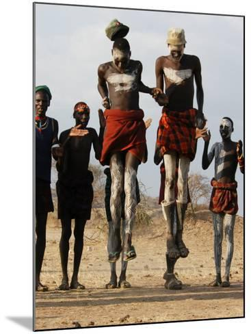 Men Wearing Traditional Body Paint in Nyangatom Village Dance, Omo River Valley, Ethiopia-Alison Jones-Mounted Photographic Print