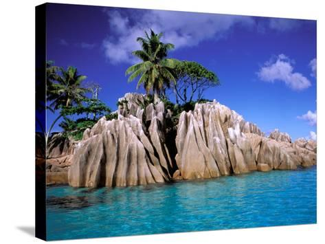 Granite Outcrops, La Digue Island, Seychelles, Africa-Pete Oxford-Stretched Canvas Print