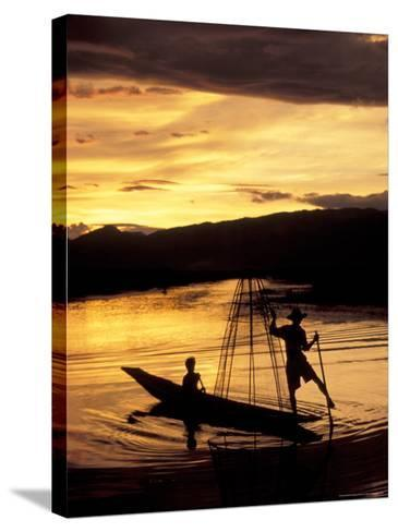Intha Fisherman Rowing Boat With Legs at Sunset, Myanmar-Keren Su-Stretched Canvas Print