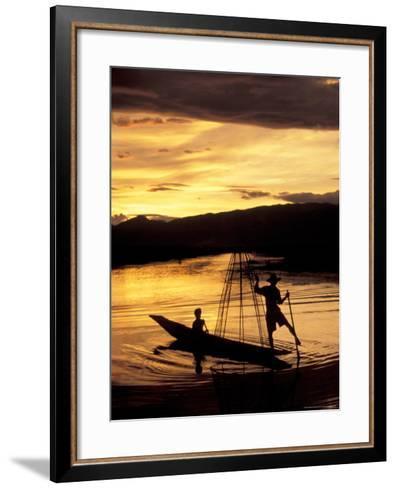 Intha Fisherman Rowing Boat With Legs at Sunset, Myanmar-Keren Su-Framed Art Print