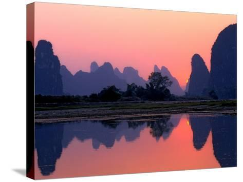 Sunset on the Karst Hills and Li River, China-Keren Su-Stretched Canvas Print