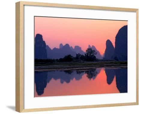 Sunset on the Karst Hills and Li River, China-Keren Su-Framed Art Print
